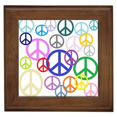 Peace Sign Collage Png Framed Ceramic Tile