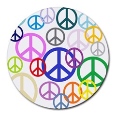 Peace Sign Collage Png 8  Mouse Pad (round)