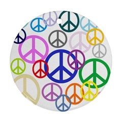 Peace Sign Collage Png Round Ornament