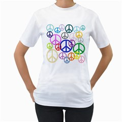 Peace Sign Collage Png Women s Two Sided T Shirt (white)