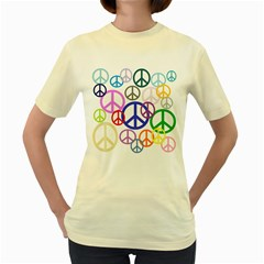 Peace Sign Collage Png Women s T-shirt (Yellow)