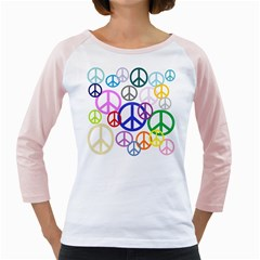Peace Sign Collage Png Women s Long Cap Sleeve T-Shirt (White)