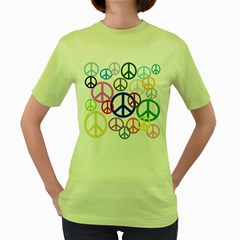 Peace Sign Collage Png Women s T Shirt (green)