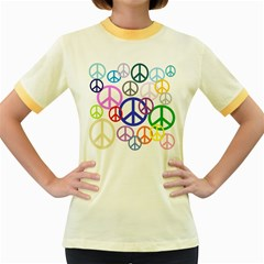 Peace Sign Collage Png Women s Ringer T-shirt (Colored)