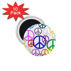 Peace Sign Collage Png 1.75  Button Magnet (10 pack)