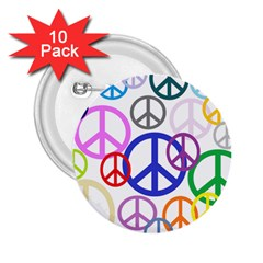 Peace Sign Collage Png 2.25  Button (10 pack)