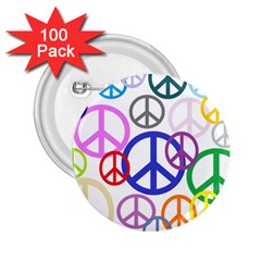 Peace Sign Collage Png 2.25  Button (100 pack)