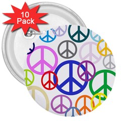 Peace Sign Collage Png 3  Button (10 pack)