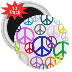 Peace Sign Collage Png 3  Button Magnet (10 pack)