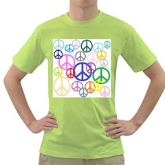 Peace Sign Collage Png Men s T-shirt (Green)