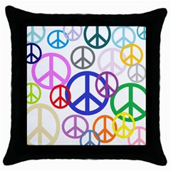 Peace Sign Collage Png Black Throw Pillow Case