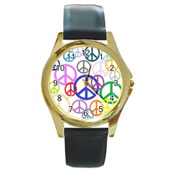 Peace Sign Collage Png Round Leather Watch (Gold Rim)