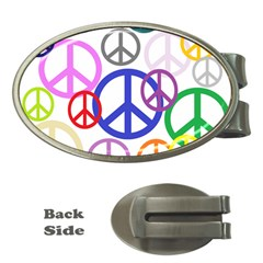 Peace Sign Collage Png Money Clip (Oval)