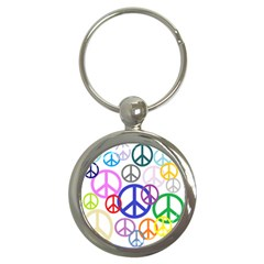 Peace Sign Collage Png Key Chain (Round)