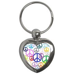 Peace Sign Collage Png Key Chain (Heart)