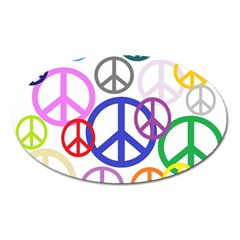 Peace Sign Collage Png Magnet (Oval)