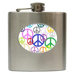 Peace Sign Collage Png Hip Flask