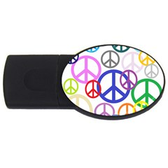 Peace Sign Collage Png 2GB USB Flash Drive (Oval)