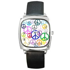 Peace Sign Collage Png Square Leather Watch
