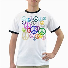 Peace Sign Collage Png Men s Ringer T-shirt
