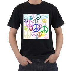 Peace Sign Collage Png Men s Two Sided T-shirt (Black)