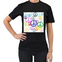 Peace Sign Collage Png Women s Two Sided T Shirt (black)