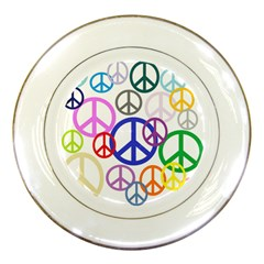 Peace Sign Collage Png Porcelain Display Plate