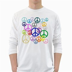 Peace Sign Collage Png Men s Long Sleeve T-shirt (White)