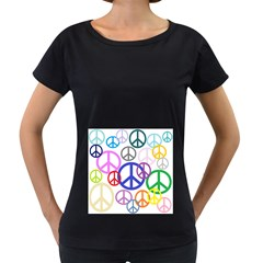 Peace Sign Collage Png Women s Maternity T-shirt (Black)