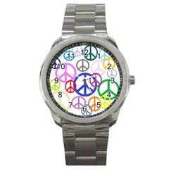 Peace Sign Collage Png Sport Metal Watch