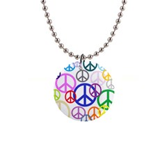 Peace Sign Collage Png Button Necklace