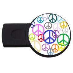 Peace Sign Collage Png 4gb Usb Flash Drive (round)