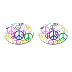 Peace Sign Collage Png Cufflinks (Oval)
