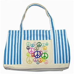 Peace Sign Collage Png Blue Striped Tote Bag