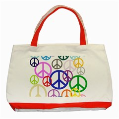 Peace Sign Collage Png Classic Tote Bag (Red)
