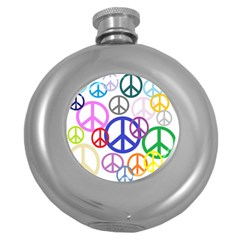 Peace Sign Collage Png Hip Flask (round)