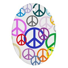 Peace Sign Collage Png Oval Ornament (two Sides)