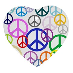 Peace Sign Collage Png Heart Ornament (Two Sides)