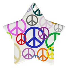 Peace Sign Collage Png Star Ornament (two Sides)