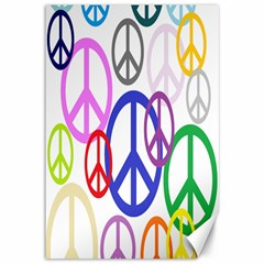 Peace Sign Collage Png Canvas 12  x 18  (Unframed)