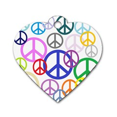 Peace Sign Collage Png Dog Tag Heart (One Sided)