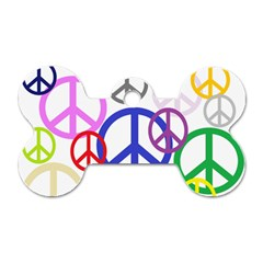 Peace Sign Collage Png Dog Tag Bone (One Sided)