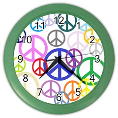 Peace Sign Collage Png Wall Clock (Color)