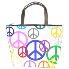 Peace Sign Collage Png Bucket Handbag