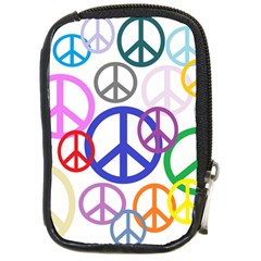 Peace Sign Collage Png Compact Camera Leather Case