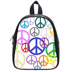 Peace Sign Collage Png School Bag (Small)