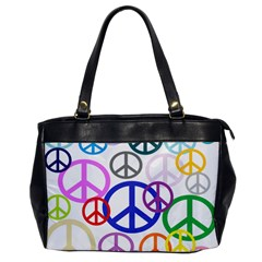 Peace Sign Collage Png Oversize Office Handbag (One Side)