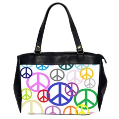 Peace Sign Collage Png Oversize Office Handbag (Two Sides)