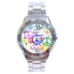 Peace Sign Collage Png Stainless Steel Watch