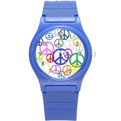 Peace Sign Collage Png Plastic Sport Watch (small)